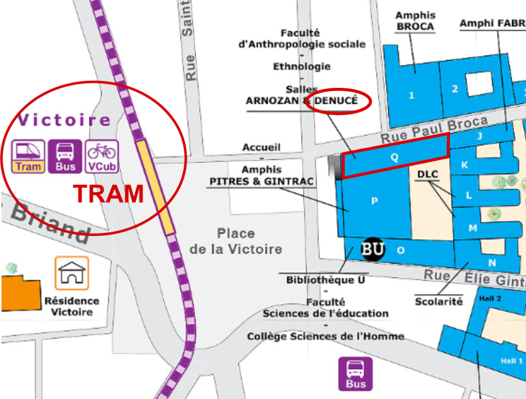 Accès à l'amphi Denucé, bâtiment Q depuis le Tram place de la Victoire